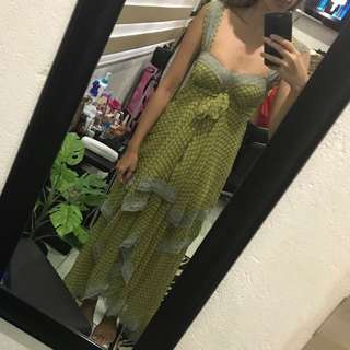 Repriced!! Flowy frilly/ ruffled/ tiered/ pleated/ overlapping long/ maxi peasant dress