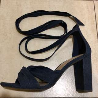 Payless denim lace up heels