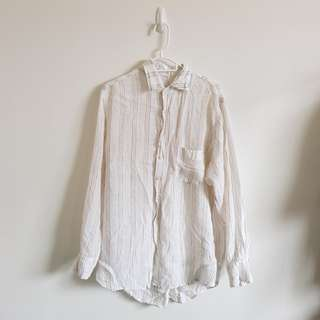 Linen Striped Button Up