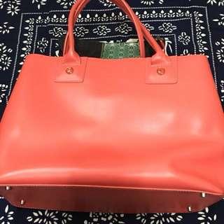 Agnis b 橙粉紅真皮手挽袋,內袋可拆