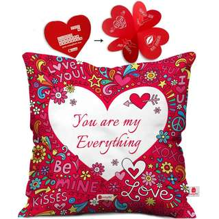 Cushion Cover 12x12 with Filler - Pink Funky Designer Gift for Boyfriend Girlfriend Wife Him Her