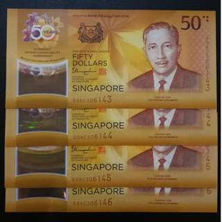 Singapore and Brunei  50th Year Commemorative Polymer Notes