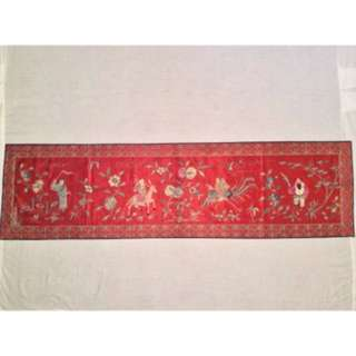 ANTIQUE EARLY 20th c REPUBLIC PERIOD CHINESE EMBROIDERED BANNER, 148 x 40 cm!