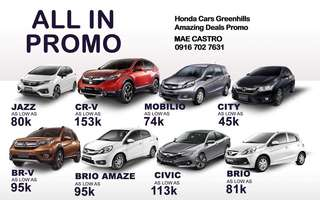 ALL IN PROMO⬇️⬇️⬇️⬇️ 🚘🚘🚘🚘🚘  For more inquiries: 👩‍💻Mae Castro 👩‍💻Sales Executive ( Honda Cars Greenhills) 📞Mobile: 09167027631 📧Email: jossamaecastro91@gmail.com