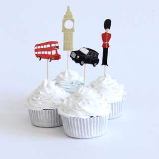 12 pcs London British Big Ben Cupcake Toppers Cake Topper Muffin Decoration Baking Picks Birthday Party