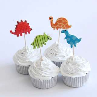 12 pcs Dinosaurs Jurassic Park Cupcake Toppers Cake Topper Muffin Decoration Baking Picks Birthday Party