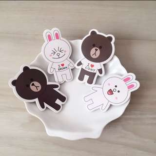 8 pcs Line Friends Brown Cony Cupcake Toppers Cake Topper Muffin Decoration Baking Picks Birthday Party