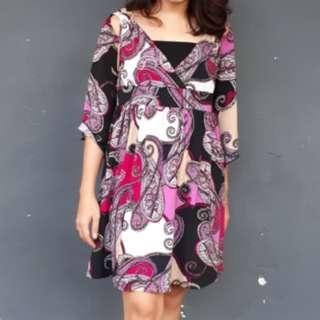 Pink Abstrak Mini Dress