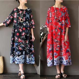 [InStock] Retro Baggy Floral Dress (44)