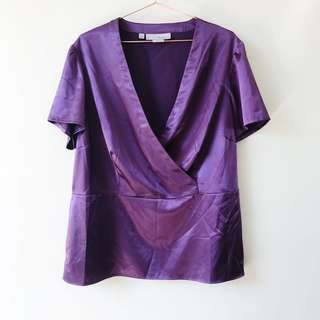 Basque Size 18 Purple Satin Crossover Top