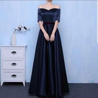 Plus size off shoulder navy dress / evening gown