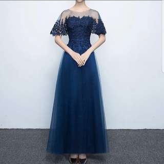 Translucent mesh design navy dress / evening gown