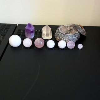 粉晶球+瑪瑙小聚寶盆+黃粉絲水晶柱