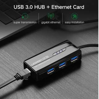 Ugreen USB Ethernet for Windows 10 Xiaomi Mi Box 3 Android TV Set-top Box USB 3.0 2.0 HUB to RJ45 Lan Adapter Network Card