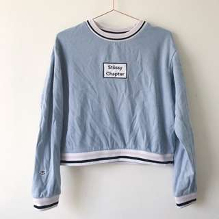 Stussy Chapter Size 10 Crewneck Blue Womens Jumper