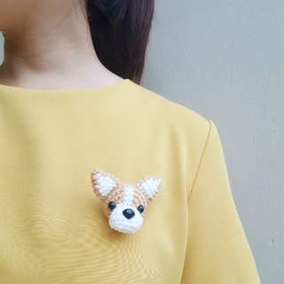Handmade crotchet Corgi dog brooch