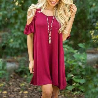 Cherry Pink Cold Shoulder Flowy Dress