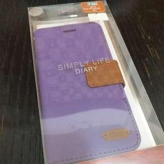 全新iphone 6S 紫色牛仔布面 有蓋殼 保護套 多層 連玻璃貼