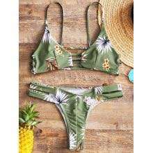 Zaful Two-piece floral thong bikini