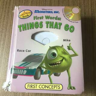 First Concepts Disney Pixar Monsters Inc. Book - First Words Things That Go