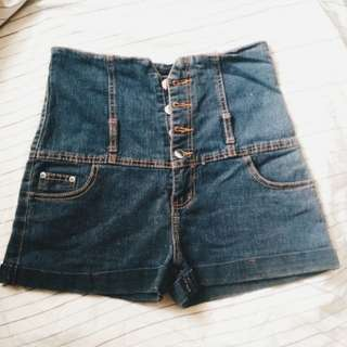 High waisted Buttondown Sexy Shorts (Black denim color)