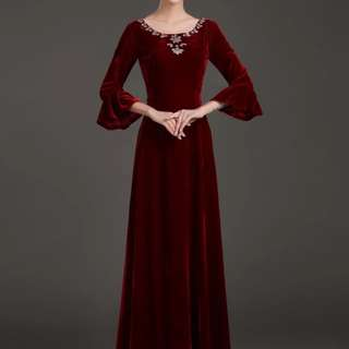 Wine red trumpet sleeve dress / evening gown