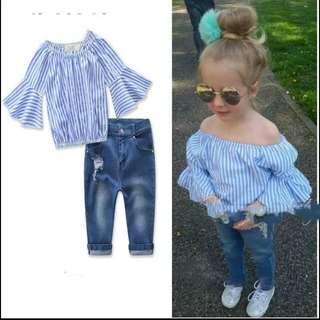 2pcs Kids Baby Girls Outfits Set Tank Top T-shirt Dress Jeans Pants Clothes Children Enfant Girl Tops Pant Clothing Set 2-7T
