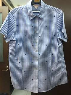 Brook Brothers Flower Embroider Checked Blue/White Shirt