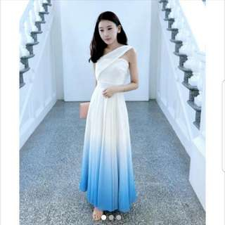 BNWOT Theory of Seven Bernad Ombre White/Sea Blue Toga Maxi