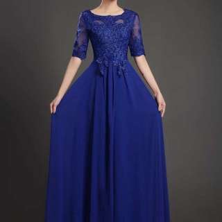 Blue embroidery dress / Evening Gown