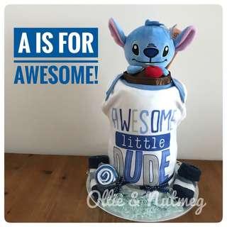 Customised diaper cake gift hamper for baby shower