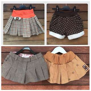 4x girls shorts and skirts size 2