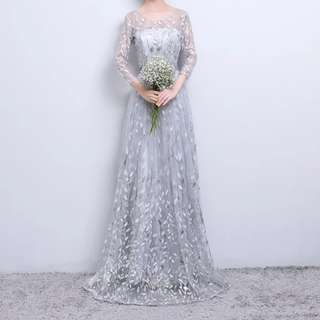 Leaf design grey dress / evening gown