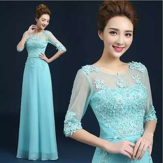 Mesh sleeve design floral embroidery blue dress / evening gown