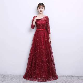 Leaf design wine red dress / evening gown