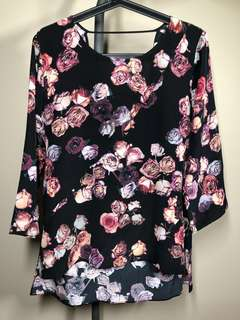 Aritzia Wilfred silk floral blouse with open back