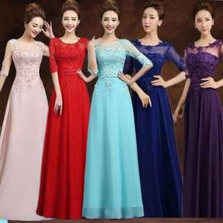 Mesh sleeve design embroidery pink / blue / red / purple dress / Evening Gown