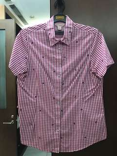 Brook Brothers Embroided Flower Checked Pink/White Shirt