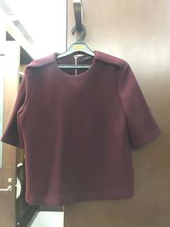 ZARA Maroon Knitted Crop Top
