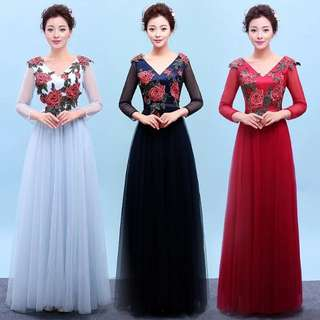Floral v shape red / blue / navy dress / evening gown