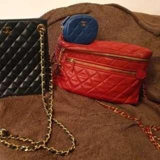 Chanel 紅色2用羊皮相機袋