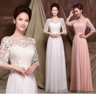 Pink / white lace design long sleeve dress / evening gown