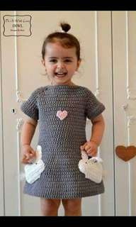 Crochet 1-2 years old girls dress