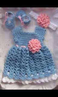 Crochet 0-1 years old baby's dress set