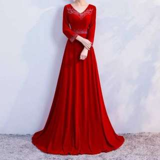 Elegant red long sleeve dress / Evening Gown