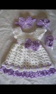 Crochet 0-1 years old girls dress set