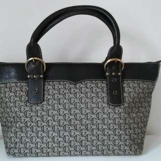 Guy Laroche Monogram handbag with patent leather
