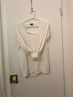White V-neck detailed sweater