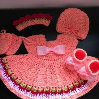 Crochet newborn size dress set