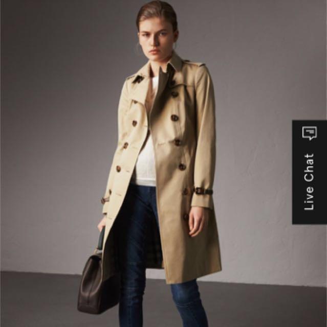 100%正品 近9.9全新 Burberry 淺灰色風衣外套 中長修身款 原價84000